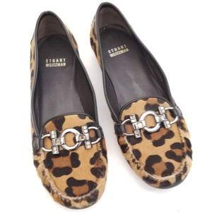 Stuart Weitzman Faux Fur Leopard Loafer Size 7.5 M
